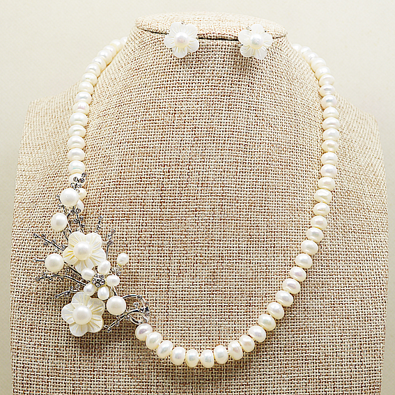 Unique Pearls jewellery Store 8-9MM White Freshwater Pearl Necklace Earrings Perfect Shell FlowerJewelry Set Wedding Women GiftUnique Pearls jewellery Store 8-9MM White Freshwater Pearl Necklace Earrings Perfect Shell FlowerJewelry Set Wedding Women Gift