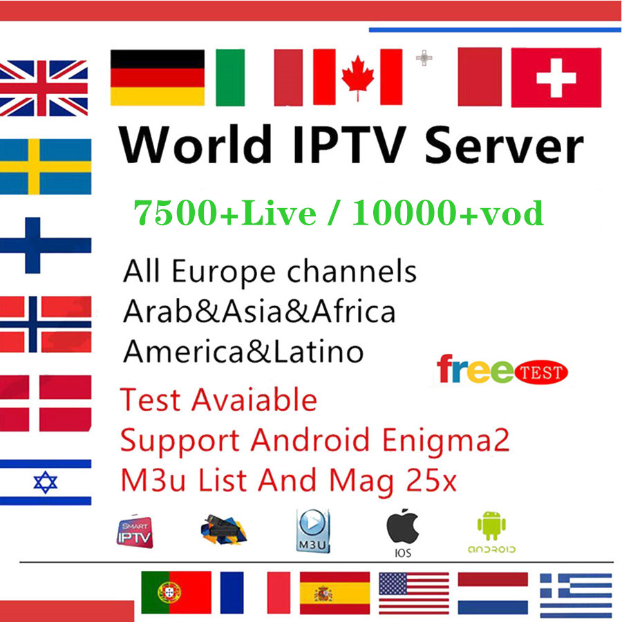 7500 Channels World Global IPTV Europe USA UK Germany Italy Nordic Latin  3/6/12 Month subscription For M3U Mag Android Smart TV