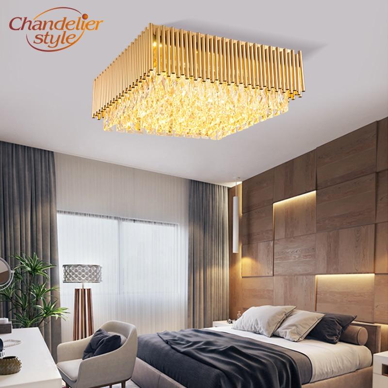 Carré moderne Cristal Plafonnier Encastré LED Plafonnier Maison Hôtel Salon Luminaire