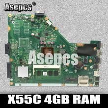 Asepcs X55C 4 Гб Оперативная память памяти Материнская плата Asus X55C X55CR X55V X55VD Материнская плата ноутбука DDR3 60-N0OMB1100-C01 100% Тесты