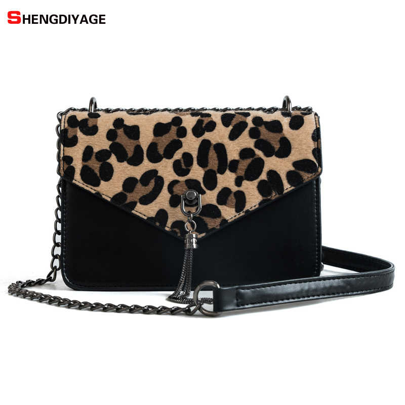 283816c2e665 Leopard Fashion Trendy Chains Bag Female Famous Brands luxury handbag  Women s purse crossbody messenger shoulder bags