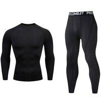 Мужское длинное термобелье комплект фитнес-одежда колготки черный спортивный костюм Кроссфит футболка брюки Бодибилдинг компрессия костю...