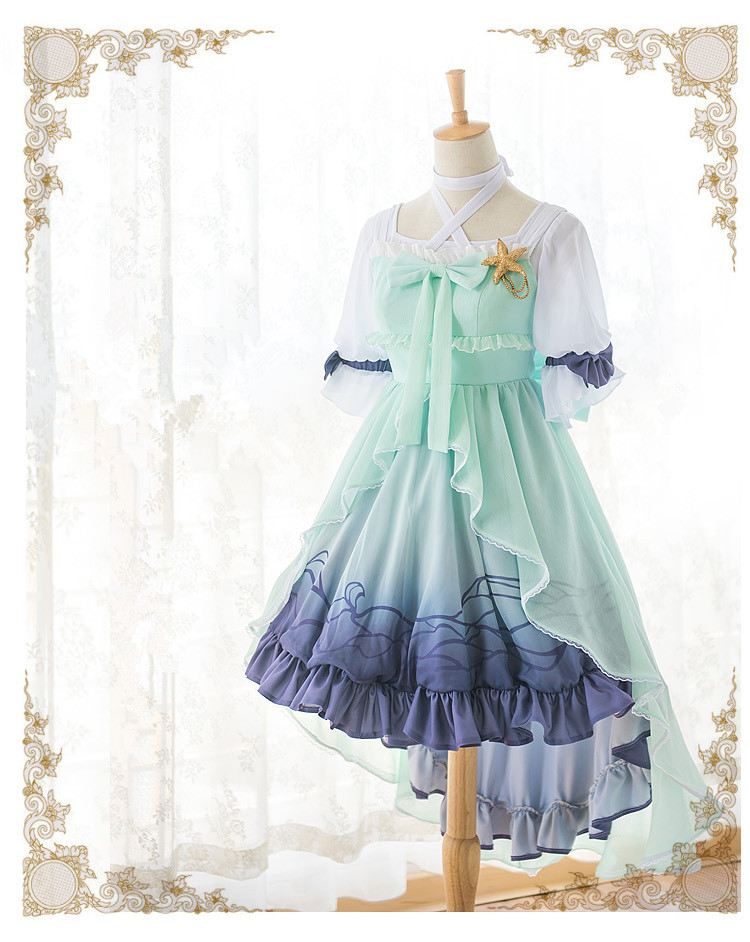 Anime! Cardcaptor Sakura Sakura Kinomoto Ocean Princess Lolita Dress Custom-made Cosplay Costume Free Shipping+Crown anime cardcaptor sakura figma kinomoto sakura pvc action figure collectible model toy doll 27cm no box