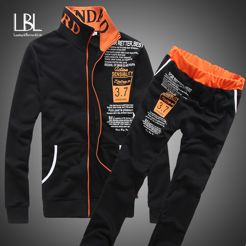 New Men Tracksuit Set Winter Fleece Zipper Hooded Jacket+Pants Sweatshirts 2 Piece Set Hoodies Sporting Suit Coat Set Sportswear
