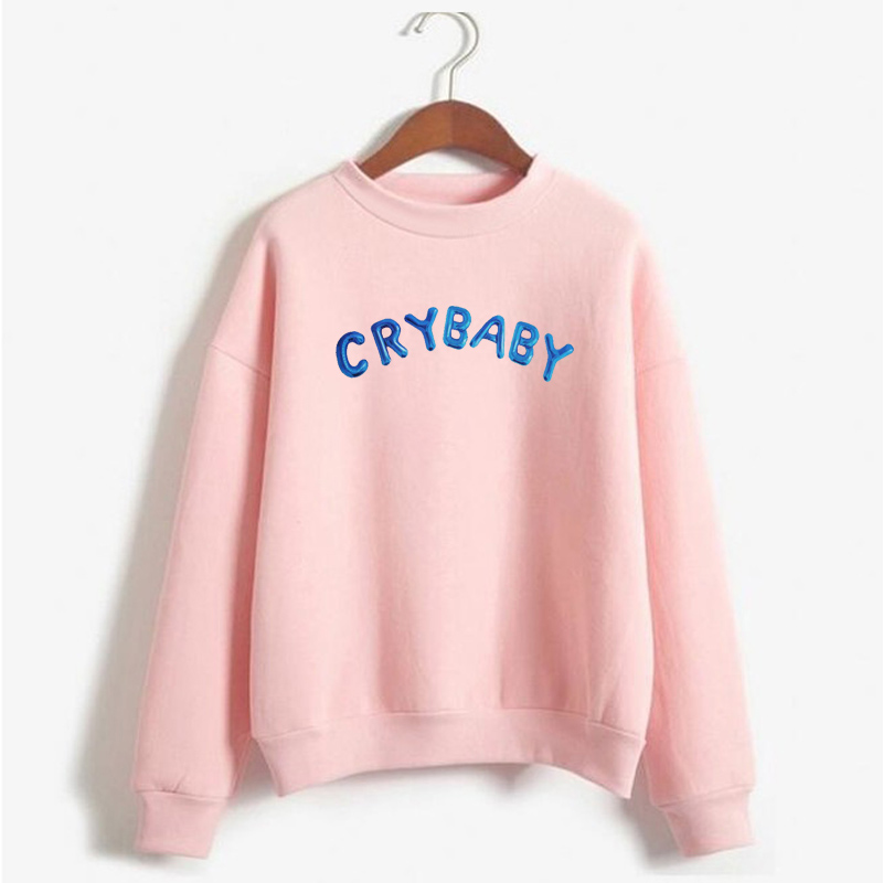 Cry Baby Hoodie Women Funny Kawaii Pink Sweatshirt Female Long Sleeve Pullovers Warm Coats Harajuku Streetwear Womens Sweatshirt