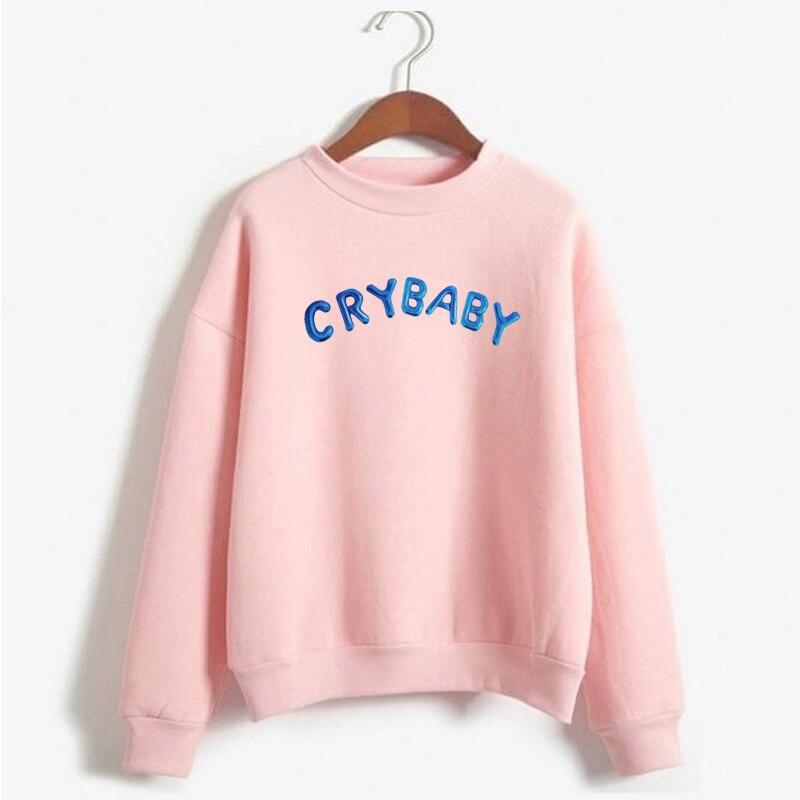 Cry Baby Hoodie Women Funny Kawaii Pink Sweatshirt Female Long Sleeve Pullovers Warm Coats Harajuku Streetwear Womens Sweatshirt