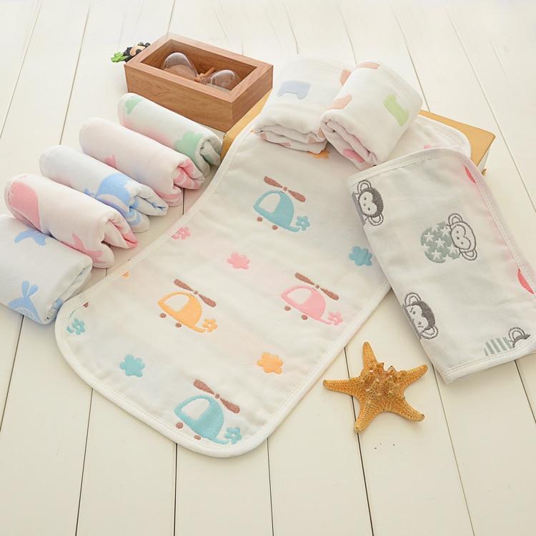 Muslin Cotton Baby Towel 4 Layers Gauze Newborn Kids Cartoon Cute Pattern Handerchief 22*45cm Soft Infant Wipe Cloth Soft Towel
