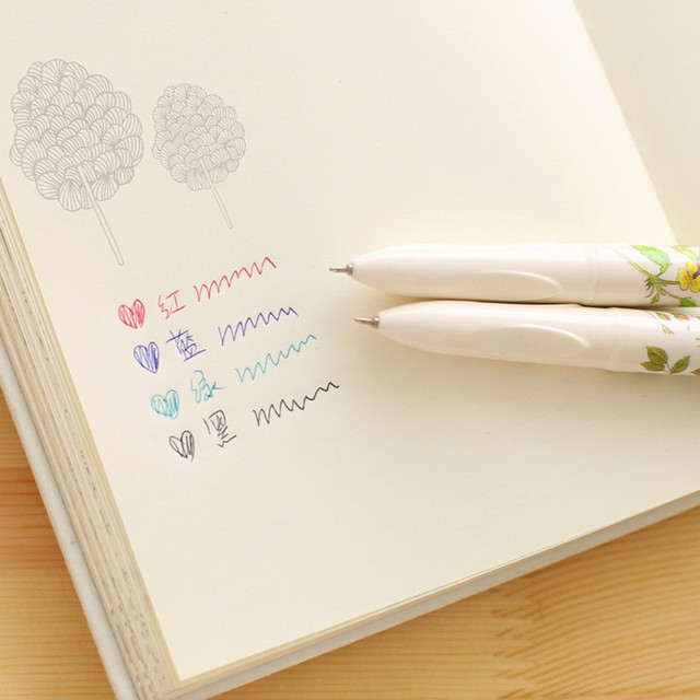Student 0.5mm Cute Kawaii Flower Plastic Ballpoint Pen Creative 4 Colors Ball Point Pen For Kids Korean Stationery 1518 2