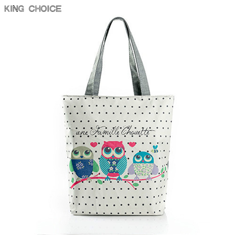 Cartoon Owl Print Casual Tote Lady Canvas Beach Bag Female Handbag Large Capacity Daily Use Women Single Shoulder Shopping Bags scione new canvas women bag shopping shoulder bag funny design piano printing handbag beach tote woman canvas hand bags 2pcs set