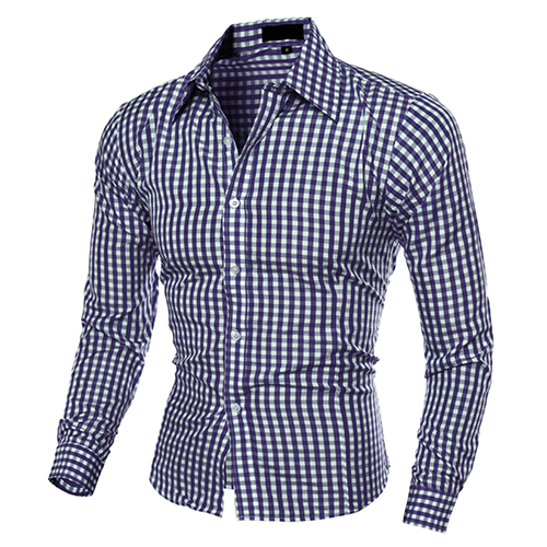 2017 Neue Herrenmode Casual Revers Taste Unten Karierten Langärmeligen Slim Fit Shirt Top