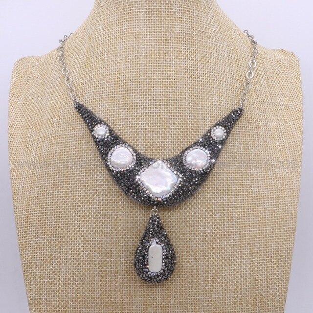 82e5e59ef0e7 Hecho a mano perlas naturales y resina de piedra colgante collar de la gota  moda druzy