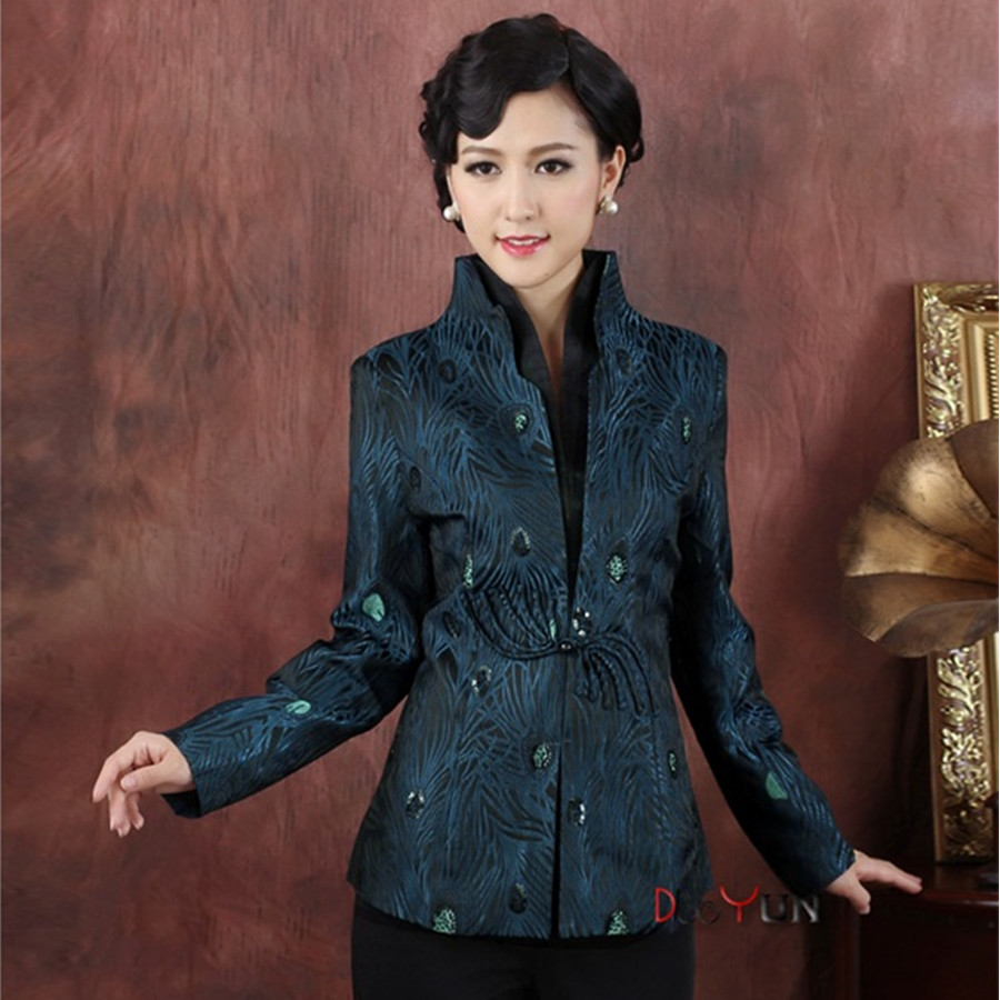 Sale Free Shipping Blue Chinese Lady Silk Coat Traditional V -Neck Tang Suit Flower Slim Jacket National Costume Size S To XXXL 2013 new style red mens motorcycle jacket motorbike riding jacket suit with size s to xxxl free shipping