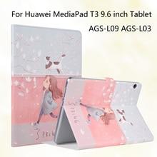 Moda Pintado T3 Del Tirón de LA PU Para Huawei MediaPad 10 AGS-L09 AGS-L03 9.6 pulgadas Tablet Funda de piel Cubierta + Stylus + película