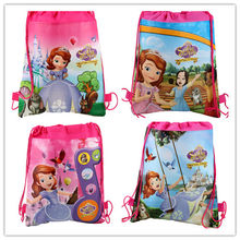 12Pcs Hot Princess Sofia Cartoon Kids Drawstring Printed Backpack Beach Shopping School Traveling Shoulder Bags 34*27CM(China)