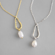 1pc 100% Authentic 925 Sterling silver Irregular Freshwater Pearl & Open Geometric pendant necklace zirconia set TLX445(China)