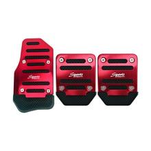 3pcs/lot Red Universal Car-styling Aluminum Non-Slip Manual Car Pedal Cover Set Kit Pedali Foot Treadle Non-slip