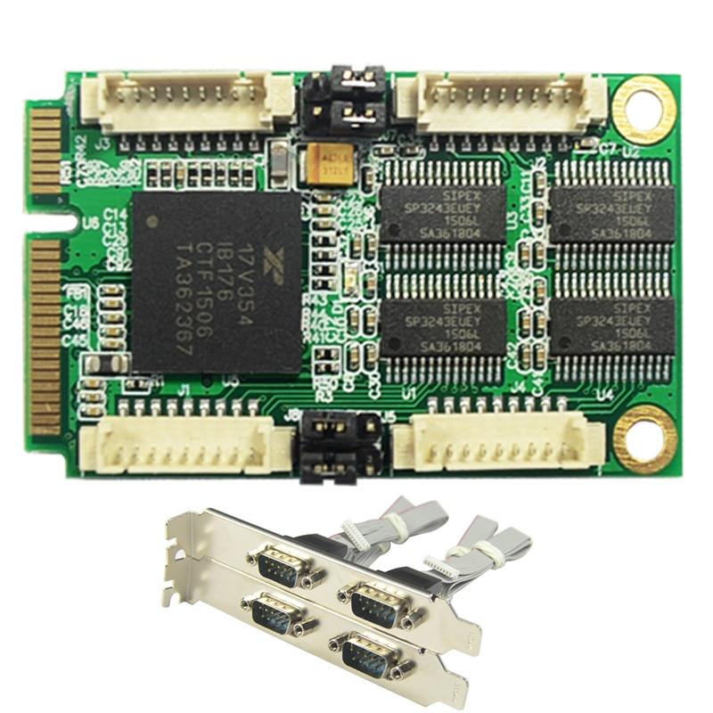 Mini PCIe 4 Serial ports Controller card mini PCI-e to DB9 RS232 adapter mini PCI-E COM Card XR17V354 pci to dual 2 rs232 9 pin ports serial expansion card new