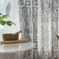 Chinese Style Cotton Linen Curtains for Living Room Printing Leaf Curtains for The Kitchen Window Curtains For Kids Room Gray