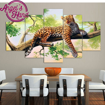 Diamond painting 5 pcs diamond embroidery leopard full square diamond mosaic embroidery with rhinestone painting home decoration фото