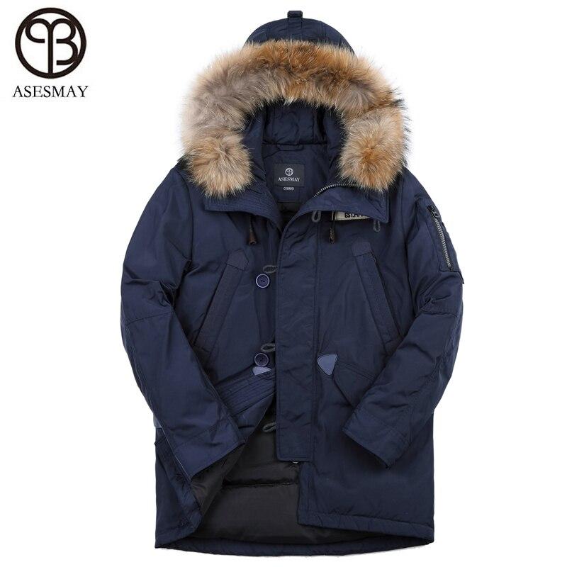 Asesmay hommes de marque vêtements d'hiver vers le bas veste hommes 90% blanc duvet de canard manteau de haute qualité à capuche parka épais chaud mâle vestes