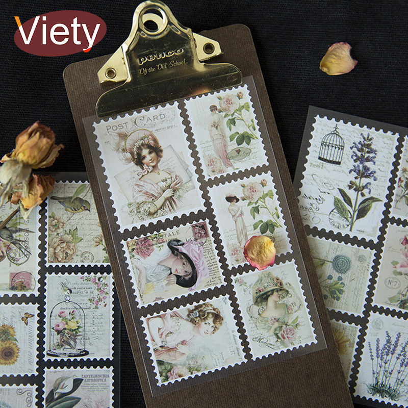 3 Sheet/Bag Vintage Creative paper stamp student paper sticker DIY diary decoration sticker for planner album scrapbooking diy lace frame transparent clear rubber stamp seal paper craft photo album diary scrapbooking paper card for wedding gift cc 79
