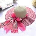 Venta caliente 2017 Kentucky Derby Sombreros Para Mujeres Gorro de Sol Pesca Sombrero Chapeu Feminino Toca Paja Casquillo de la Playa Femenina Del Verano