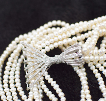 4rows freshwater pearl white near round 3-5mm necklace 34inch wholesale beads nature gift