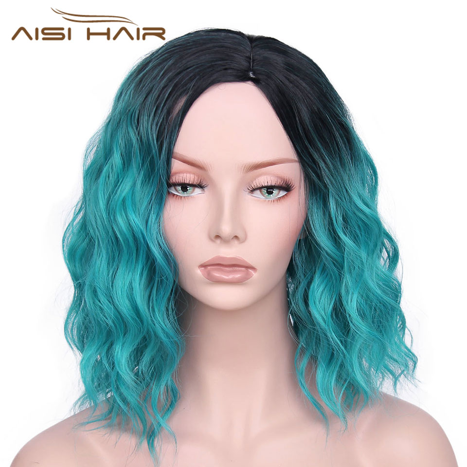 I's a wig Synthetic Ombre Red Blue Pink Wigs Short Black Hair for Women's 14Long Water Wave False Hair
