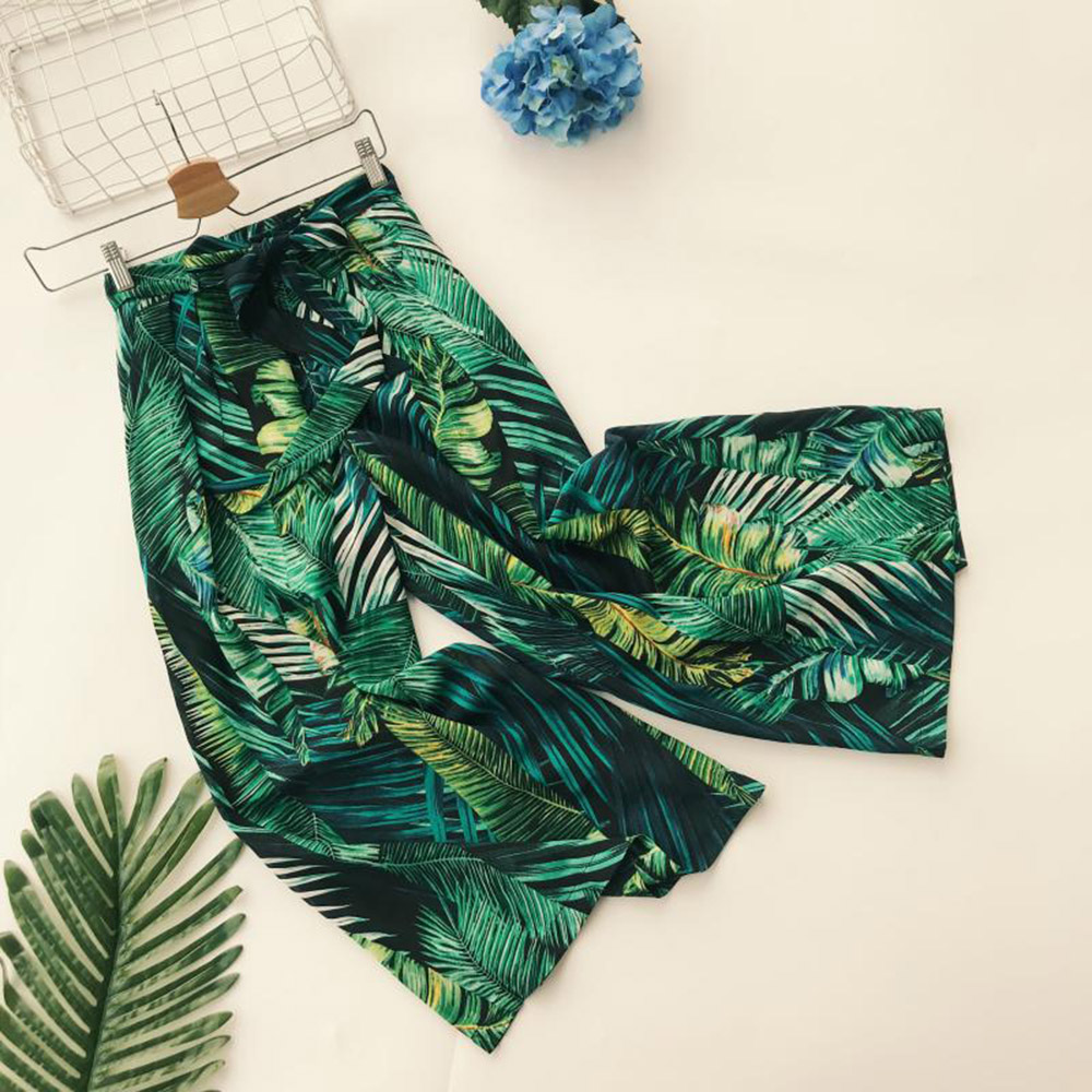 QUEENUS Summer Women's   Wide     Leg     Pants   High Waist lace up Trousers tropical Leaf Print Green Bow Palazzo with Pocket Casual   Pants