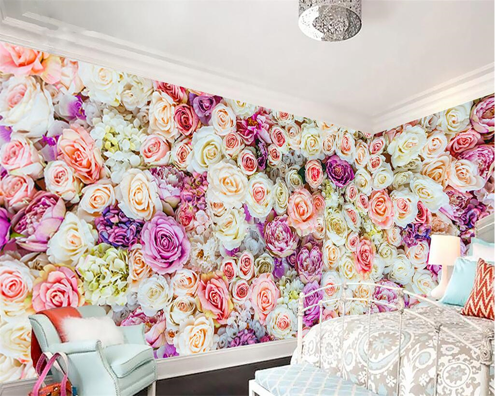 Beibehang Custom Wallpaper Flower Sea Garden Flower Roses TV Background Wall Living Room Bedroom Home Decoration 3d Wallpaper