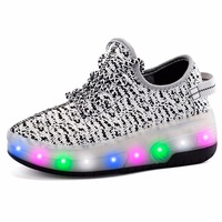 Boys Girls Double Wheels Skate Shoes Roller Glowing Sneakers Breathable Fabric Chargable LED Full Light Shoes