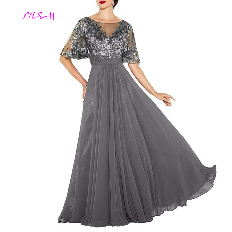 Elegant Scoop Short Sleeves Evening Dress Chiffon Sequins Embroidery Formal Gowns Illusion A Line V Back