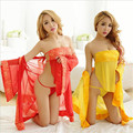 European and American Style Red Bridal Wear Kimono Mesh Apron Sexy Lingerie Ladies Nightdress Suit Uniforms Temptation