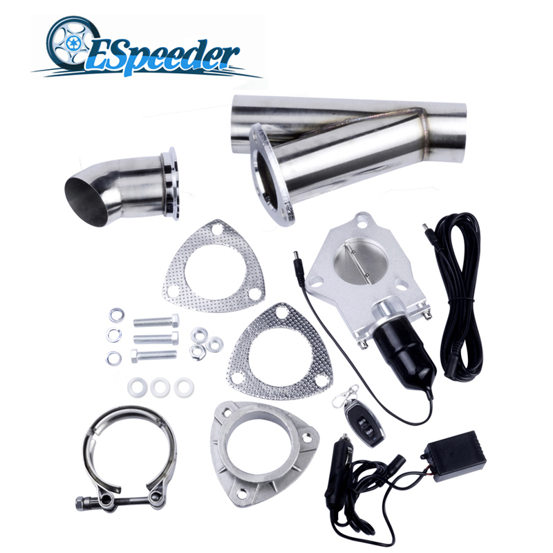 ESPEEDER 2.5 Inch Stainless Steel Headers Y Pipe Muffler Catback Bypass Exhaust Cut Out Down Pipe Remote Control Electric Cutout