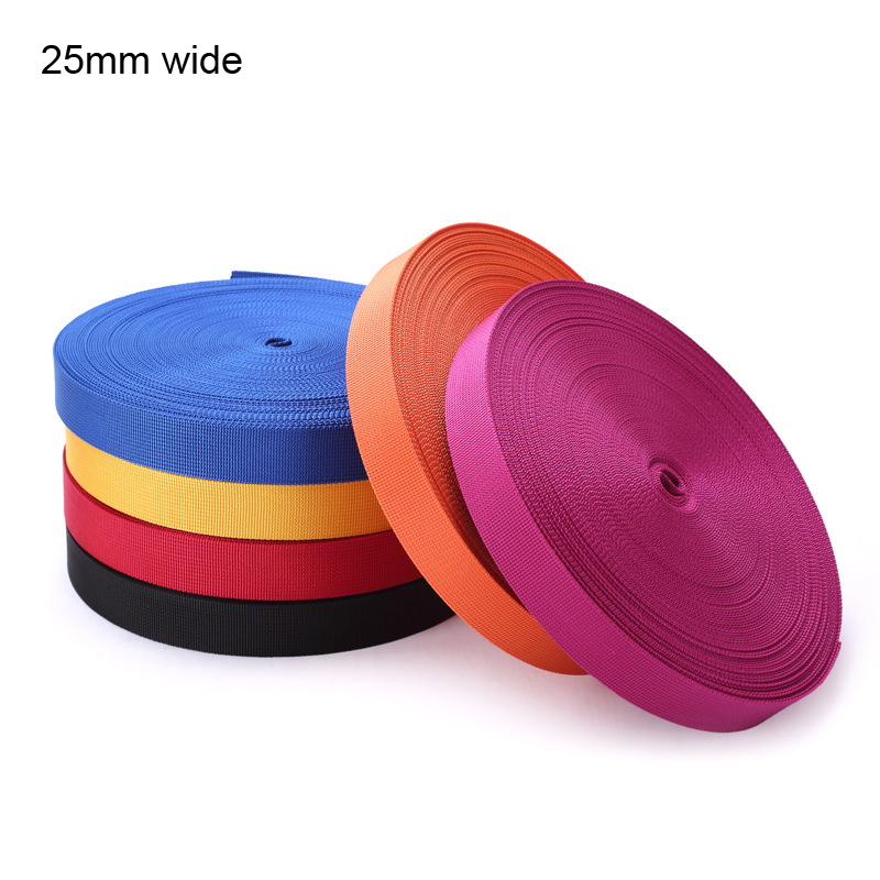 25mm ( 1 wide ) Webbing 5 yards polypropylene for Bags Sewing Belt Webbing Strapping braided strap Garment Shoes
