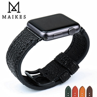 MAIKES Good Quality Genuine Leather Watch Strap Black Watch Accessories For Apple Watch Band 42mm 38mm