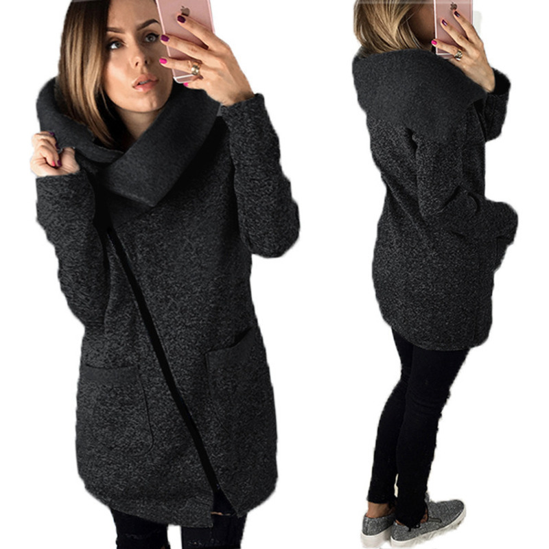 Scarf collar Asymmetrical Zipper Loose Coat Jacket Autumn Christmas Winter women   Parkas   Harajuku Overcoat pockets Hoodies ez*
