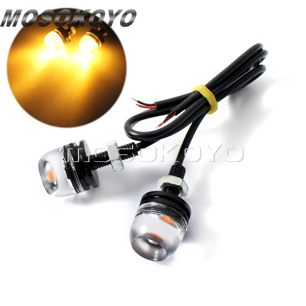 2pcs Motorcycle LED Screw Bolt Tail License Plate Light SMD Amber Licence Lamp For Honda Harley Kawasaki Universal