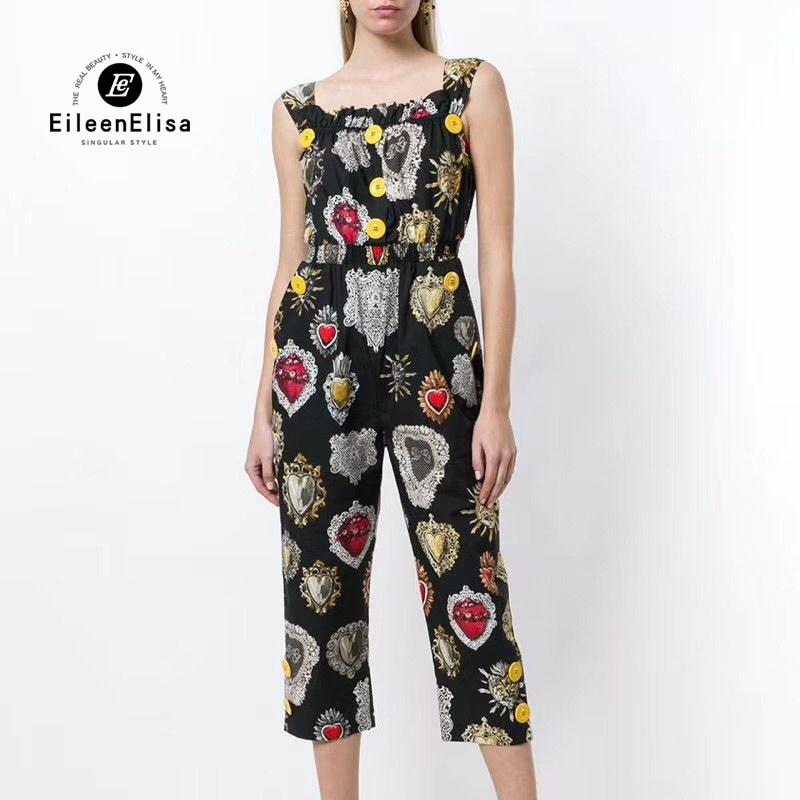 Летние Печатные комбинезоны 2018 Для женщин Мода полной длины комбинезоны роскошные черные комбинезоны