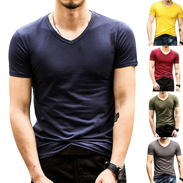 HEFLASHOR גברים של שרוול קצר t חולצת קיץ v צוואר בגדים למעלה זכר אופנה כושר ספורט ריצה t חולצה 2019 camisetas hombre