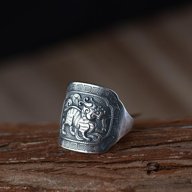 Gros argent masculin argent fin S990 Thai argent restauration anciennes manières anneau processus hommes kirin totem argent ornement
