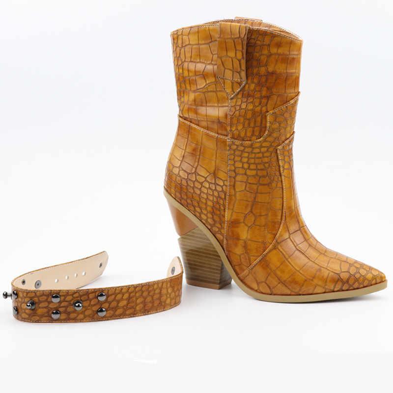 Boyutu 34-46 Moda kabartmalı mikrofiber deri kadın yarım çizmeler sivri burun batı kovboy çizmeleri kadın platformu takozlar