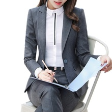 2018 Fashion business pants suits set temperament formal slim blazer and Trousers office Interview ladies plus size work wear