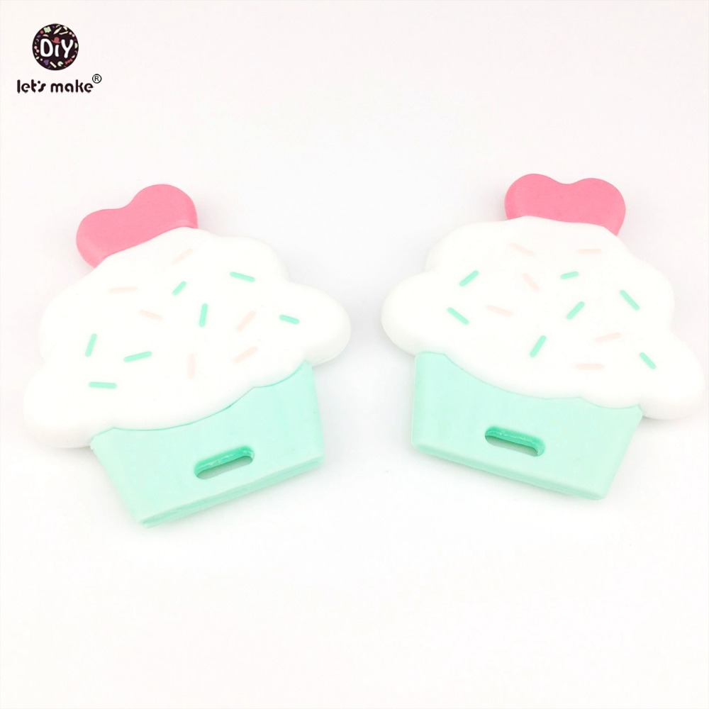 Let's Make Baby Teether Lovely Silicone Cup Cake 2pcs Cute Diy Accessories Nursing Teething Toys Food Grade Silicone Teether