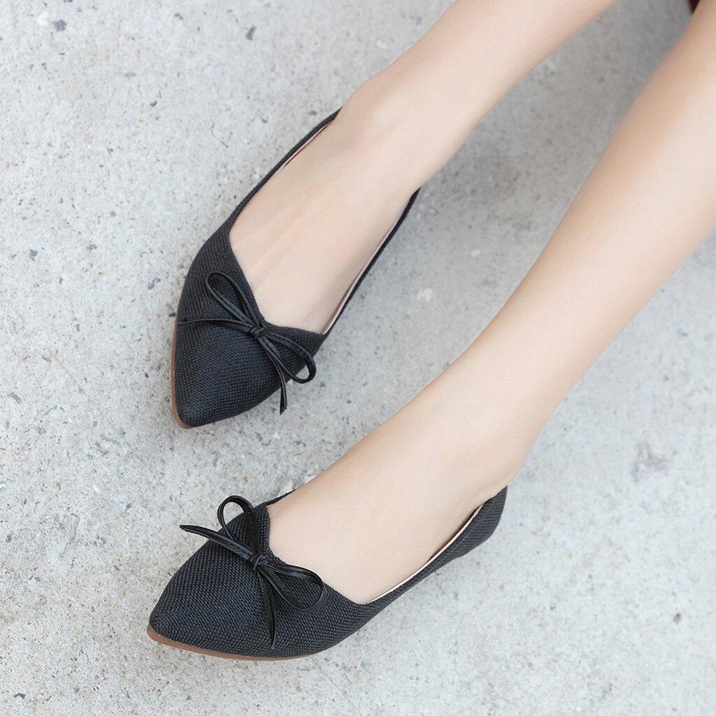Doux Plates Casual Arc Plat noir Femme Fond Chaussures Bateau Belle Lady Vogue Solide Beige marron Femmes PXxvvw