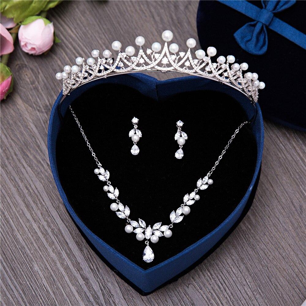 3 pièces/ensemble Zircon cubique mariage bijoux de mariée ensembles simulé perle Zircon couronne collier boucle d'oreille Clips femmes princesse cadeau de bal