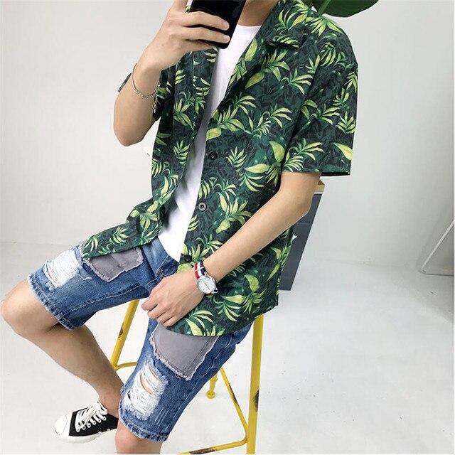 7a2ad0a92e7e 2019 New Men Shirt Fashion Hawaiian Shirt Men Summer Casual Men Shirt Short  Sleeve Printed Beach Clothes Male Large Size A5296