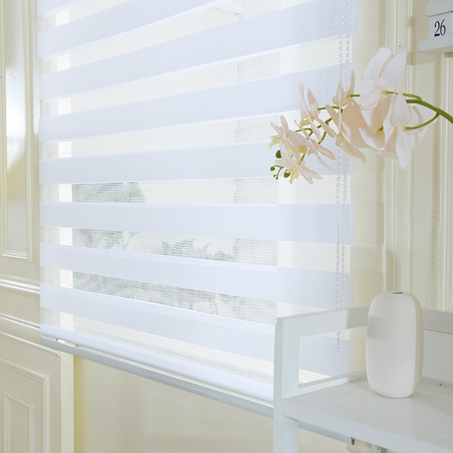 Waterproof Shutter Blinds Custom Soft Gauze Double Blackout Curtains Kitchen Bathroom Office Zebra