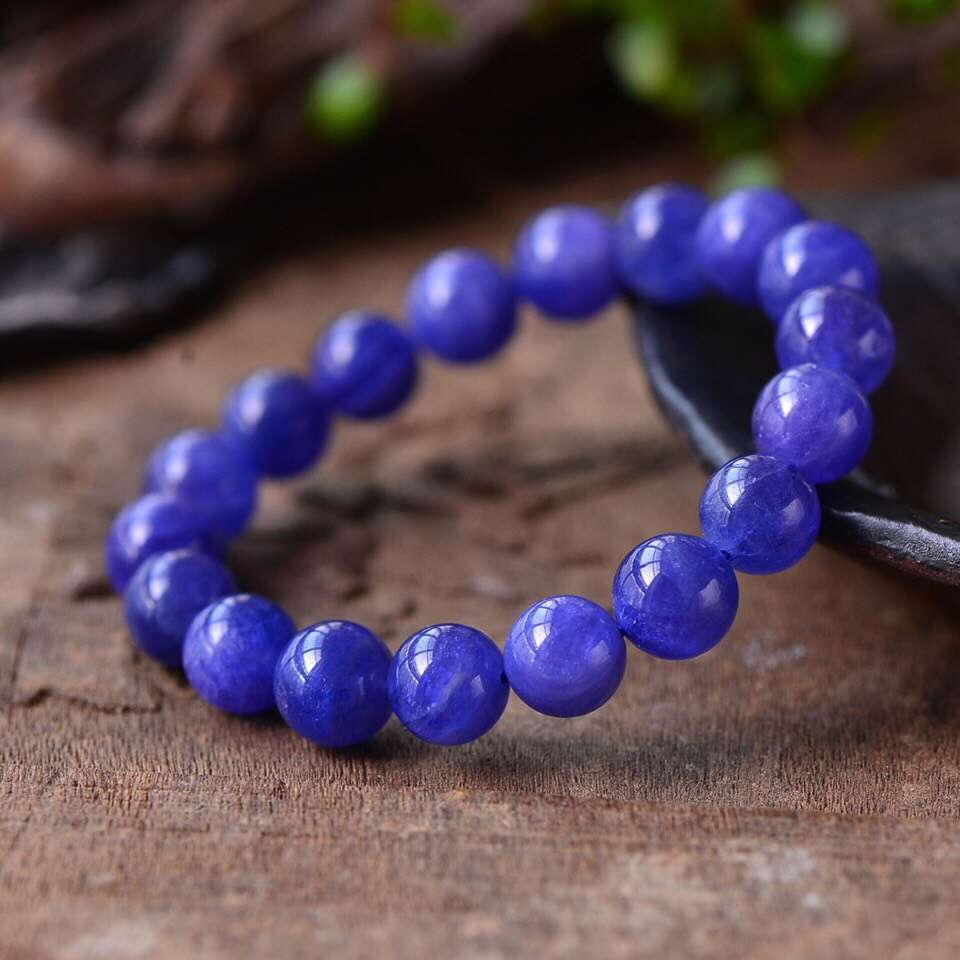 Top Quality Natural Tanzanite Tanzania Blue Zoisite Clear Round Beads Bracelet 10mm Stretch Tanzanite Hot Women Man Aaaaaa Excellent In Cushion Effect Bracelets & Bangles Fine Jewelry