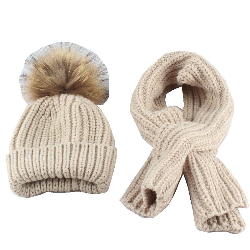Children  Acrylic Scarves And Hats Sets 15CM Raccoon Fur Pom Pom  LF5152
